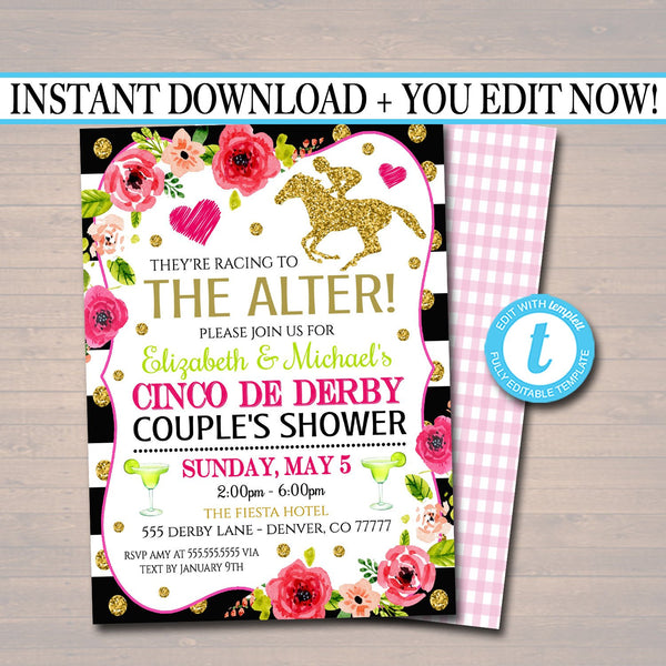 Editable Cinco De Derby Bridal Shower Invitation, Printable Couples Engagement Party Invite, They're Racing To The Alter!  INSTANT DOWNLOAD