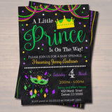 EDITABLE Mardi Gras Boy Baby Shower Party Invitation We've Got the Baby Sprinkle, A Little Prince is On His Way New Orleans INSTANT DOWNLOAD