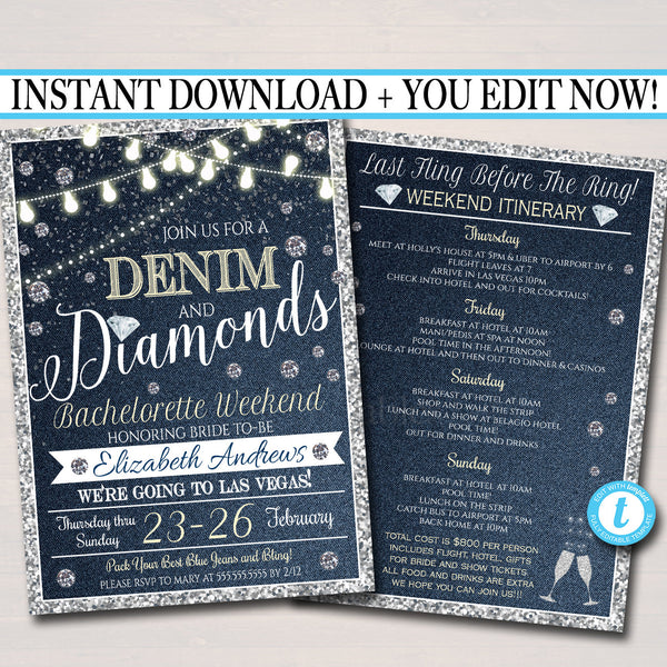 EDITABLE Denim and Diamonds Bachelorette Party Invitation, Bridal Shower Wedding, Ladies Weekend Country Itinerary Party INSTANT DOWNLOAD