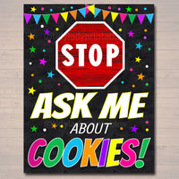 Stop! Ask About Cookies, Cookie Booth Sign, Stop Cookies Sold Here, Printable Cookie Drop Banner, Cookie Booth Poster Sale, INSTANT DOWNLOAD