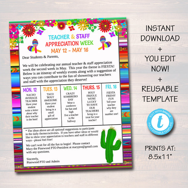 Editable Fiesta Teacher Appreciation Staff Invitation Newsletter, Printable Appreciation Week of Events, Take Home Flyer, INSTANT DOWNLOAD