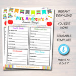 Teacher Favorites Survey - All About My Teacher Worksheet Template
