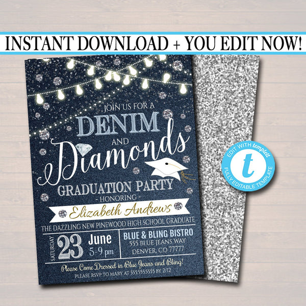 Denim and Diamonds Graduation Party Invitation, High School College Girl Graduate  Invite, Country Party,