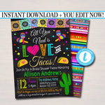 Editable All You Need is Love & Tacos Invite, Fiesta Nacho Average Bridal Shower, Printable Wedding Couples Shower Party, INSTANT DOWNLOAD