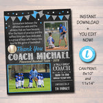 EDITABLE Baseball Coach Gift, Coach Award, Softball Team Gift, End of Season Baseball Party, Custom Best Coach Gift Softball Photo Printable