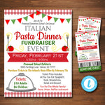 Spaghetti Dinner Fundraiser Flyer And Ticket Set - Editable Template
