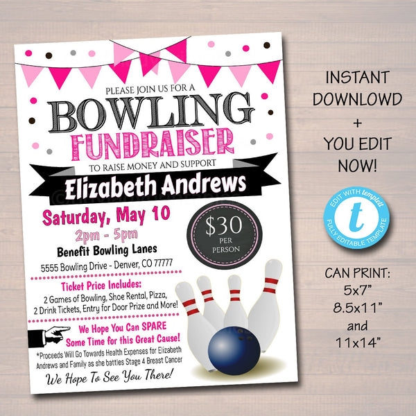Cancer Bowling Fundraiser Event Flyer - Editable Template