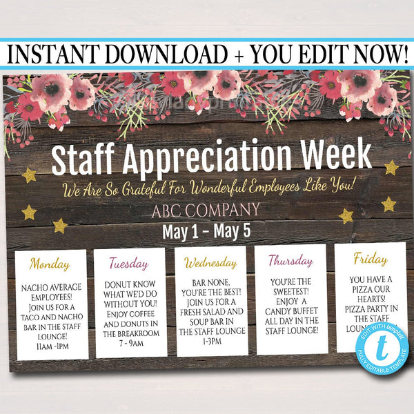 EDITABLE Staff Appreciation Week Itinerary Poster, Digital File, Appreciation Week Schedule Events, INSTANT DOWNLOAD Fundraiser Printables