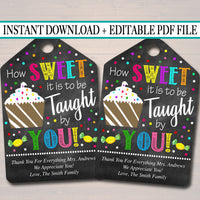 Printable Teacher Favor Tags, Appreciation Week Labels Printable INSTANT + EDITABLE Thank You Gift Candy Cookie Treat Tag, Candy Sweet Theme
