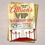 EDITABLE Red Carpet Birthday Invitation, Hollywood Movie Party Invite Glam Birthday Digital Invite vip Movie Star Party, INSTANT DOWNLOAD