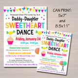 EDITABLE Daddy Daughter Candy Themed Sweetheart Dance, School Dance Flyer Party Invite, Church Community Event, pto pta, INSTANT DOWNLOAD