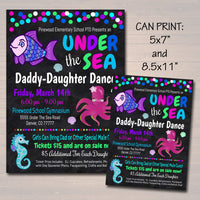 EDITABLE Daddy Daughter Under The Sea Themed Dance, School Mermaid Dance Flyer Party Invite Church Community Event pto pta, INSTANT DOWNLOAD