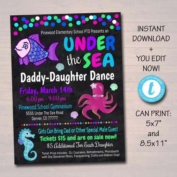Daddy Daughter Under The Sea Themed Dance, School Mermaid Dance Flyer Party Invite Church Community Event pto pta,