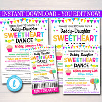 Daddy Daughter Candy Themed Sweetheart Dance, School Dance Flyer Party Invite, Church Community Event, pto pta,