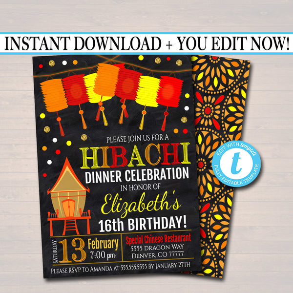 Hibachi Dinner Party Invitation, Party Invite, Chinese Restaurant Printable, Birthday Invite Template, Any Age,