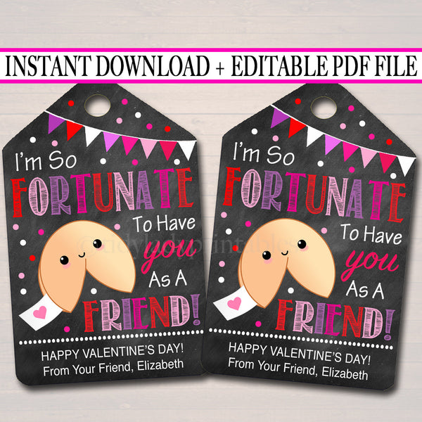 EDITABLE Fortune Cookie Valentine's Day Gift Tags, Classmate Friend, Classroom Printable, Valentine Cookie Friend Treat Tag INSTANT DOWNLOAD