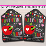 EDITABLE Apple Valentine's Day Gift Tags, Kids Friend Classroom Fruit Printable, Apple Sauce Valentine Label, I Pick You, INSTANT DOWNLOAD