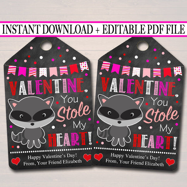 EDITABLE Valentine You Stole My Heart Raccoon Gift Tags, Teacher Friend Kids Classroom, Printable Valentine Candy Treat Tag INSTANT DOWNLOAD