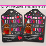 EDITABLE Valentine I Like You Beary Much Gift Tags, Teacher Friend Kids Classroom, Printable Valentine Gummy Bear Treat Tag INSTANT DOWNLOAD