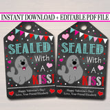 EDITABLE Sealed with a Kiss, Seal Gift Tags, Teacher Friend Kids Classroom, Printable Valentine, Chocolate Kiss Candy Tag, INSTANT DOWNLOAD