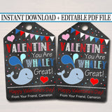 EDITABLE Valentine Whale Tag, You Are Whaley Great, Teacher Friend Kids Classroom, Printable Valentine, Valentine Treat Tag INSTANT DOWNLOAD