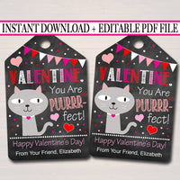 EDITABLE Valentine You Are Puurrfect Cat Gift Tags Teacher Friend Kids Classroom, Printable Valentine Kitten Cat Treat Tag, INSTANT DOWNLOAD