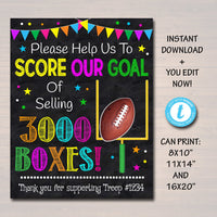 Cookie Booth Fundraiser Goal Poster, Cookie Booth Sign,  School Team Football Goal, Scout Printable, Cookie Banner