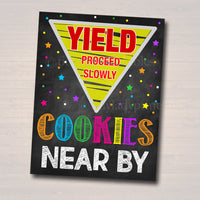 Cookie Booth Sign, Stop Cookies Sold Here, Printable Cookie Drop Banner, Cookie Booth Poster, Cookie Sale,  Fundraiser Booth