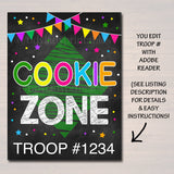 Cookie Booth Sign, Cookie Zone Sign, Printable Cookie Drop Banner, Cookie Booth Poster, Cookie Sale,  Fundraiser Booth Idea
