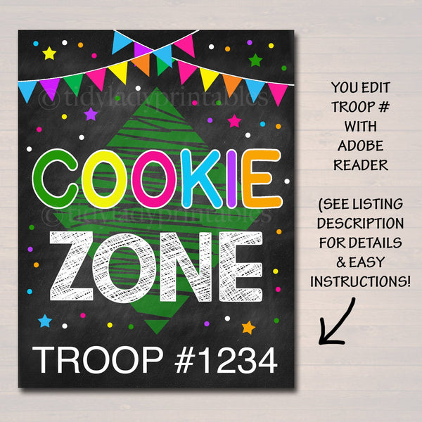 picture about Photo Booth Sign Printable named Cookie Booth Signal, Cookie Zone Indication, Printable Cookie Eliminate