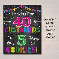 Cookie Booth Sign, Looking for Customers, Printable Cookie Drop Banner, Cookie Booth Poster, Cookie Sale, INSTANT DOWNLOAD Fundraiser Booth
