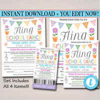 EDITABLE Spring Fling School Dance Set, Invitation, Flyer Party Invitation Easter Event Church Community Event, pto, pta, INSTANT DOWNLOAD