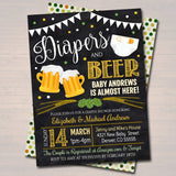 EDITABLE A Diapers and Beer Couples Shower, Baby Keg Party, Baby Sprinkle Chalkboard Invitation, Lucky St. Patricks Day, INSTANT DOWNLOAD