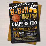 Editable Basketball and Beer Baby Shower Invitation Chalkboard Printable Baby Sprinkle, Couples Diaper Shower Party Invite, INSTANT DOWNLOAD