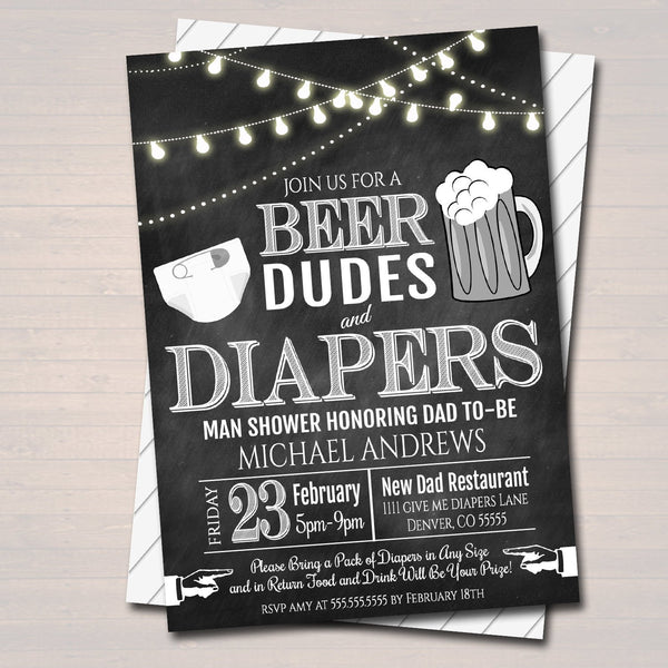 Editable Man Shower Baby Invitation Chalkboard Printable Beer Dudes And Diapers Party Invite Diaper Shower Baby Is Brewing Instant Download