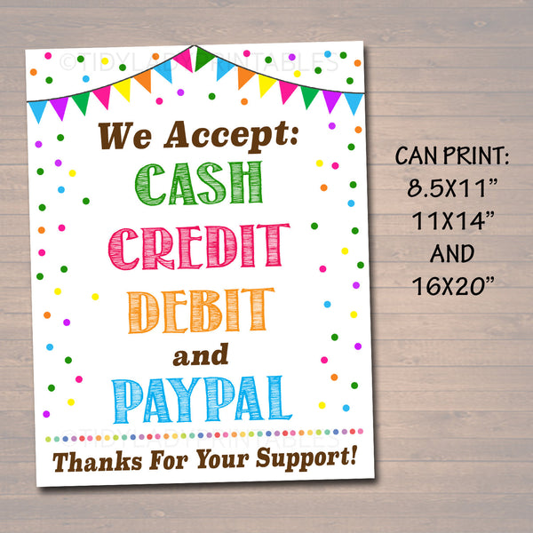 image relating to We Accept Credit Card Signs Printable identified as Cookie Revenue TidyLady Printables