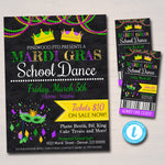 EDITABLE Mardi Gras Dance Set School Dance Flyer Party Invite, Church Community Event, King Queen Prom Dance, pto pta, INSTANT DOWNLOAD