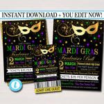 EDITABLE Mardi Gras Fundraiser Set, Flyer Invitation Ticket Masquerade Ball Formal, Catholic Church School Benefit, Pto Pta INSTANT DOWNLOAD