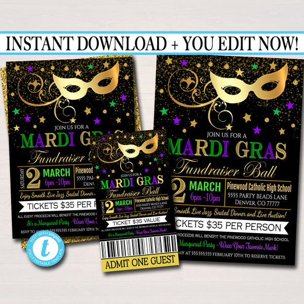 Mardi Gras Fundraiser Set, Flyer Invitation Ticket Masquerade Ball Formal, Catholic Church School Benefit, Pto Pta