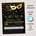 Mardi Gras Invitation Flyer, Masquerade Ball Formal Invite, Catholic Church School Benefit, Auction Event Pto Pta