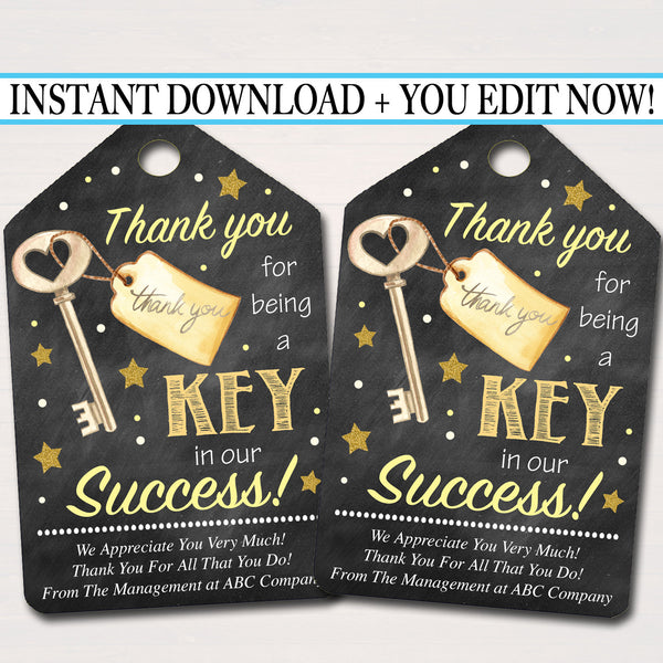 Printable Thank You Tags, Volunteer Key Labels INSTANT + EDITABLE, Thank You Gift, PTA Staff Employee, Teacher Appreciation Favor Printable