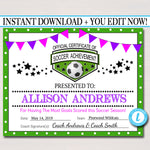 EDITABLE Soccer Award Certificates, INSTANT DOWNLOAD, Team Soccer Awards, Soccer Party Printable, Sportsmanship Awards, Sports Certificates