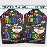 "Cereal Classroom Printable Gift Tags ""I'm Cereal-sly Excited You're In My Class"""