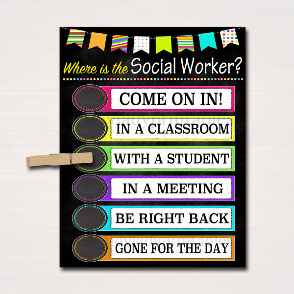 Where is the Social Worker Door Sign, Classroom Decor, School Social Worker Gifts, Office Door Hanger, Office Decor Case Worker Office Decor