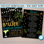 EDITABLE Bachelorette Party Invitation Bride and Boujee, Spring Break Girls Weekend Party Invite, Palm Beach Final Fiesta INSTANT DOWNLOAD