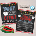 EDITABLE Chili Cookoff Voting Party Signs Picnic Decor BBQ Printable Chili Dish Official Rules Sign, Potluck Company Party Fundraising Event