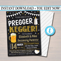 EDITABLE Pregger Kegger Invite, A Diapers and Beer Couples Shower, Baby Keg Party, Baby Sprinkle Chalkboard Invitation, INSTANT DOWNLOAD