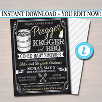 EDITABLE Pregger Kegger Invite, A Diapers and Beer Couples Shower, Baby Keg Bbq Invite Baby Sprinkle Chalkboard Invitation, INSTANT DOWNLOAD
