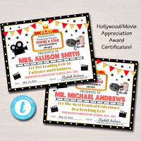 EDITABLE Appreciation Hollywood Award Certificates, Movie Vip Personalized Printable Awards, Cinema Movie Teacher Party, INSTANT DOWNLOAD
