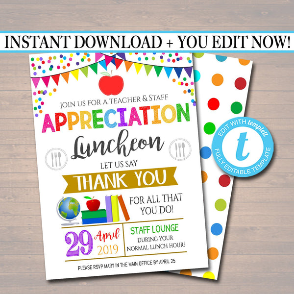 Editable Teacher Appreciation Staff Invitation, Thank You Printable, Appreciation Week Invite, Breakfast Luncheon Flyer, INSTANT DOWNLOAD